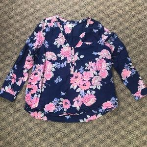 Navy Blue Floral Tunic Blouse